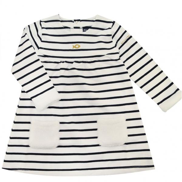 Striped fleece dress