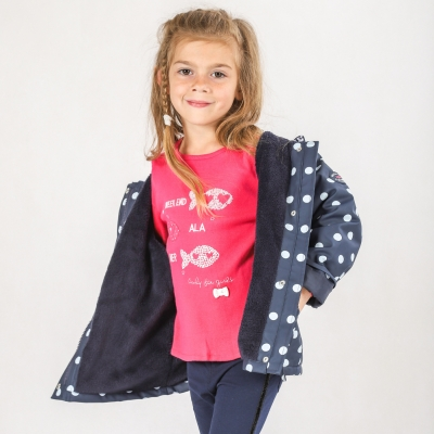 Dotted navy raincoat