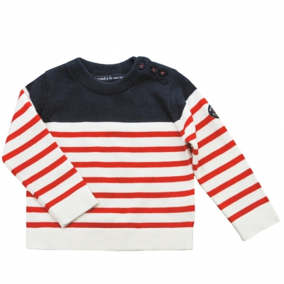 Ecru navy stitch sweater