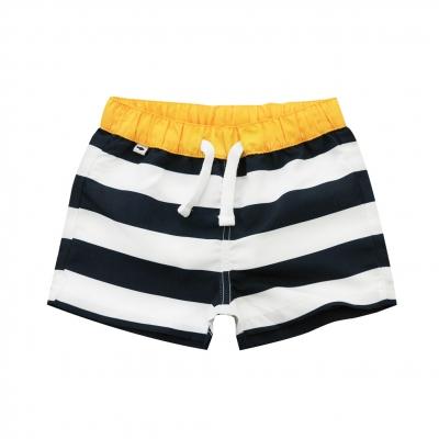 White navy large stripe swim shorts