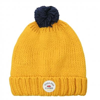Bonnet jaune en maille