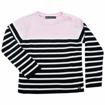 Ecru navy stitch sweater top pink