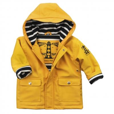 Bi-color Waxed Coat with hood