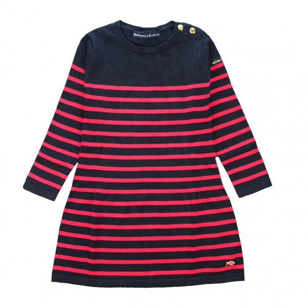Navy raspberry stitch dress