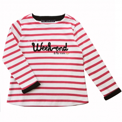 Sailor tee striped off white pink