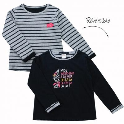 Tee-shirt manche longues reversible