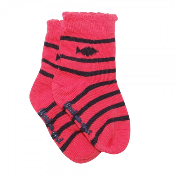 Pink/navy striped socks
